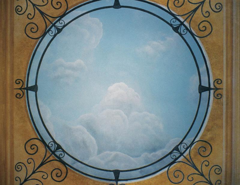 Trompe loeil au plafond id e inspirante for Trompe l oeil interieur maison